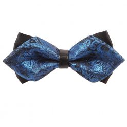 Blue Paisley Diamond Tip Bow Tie