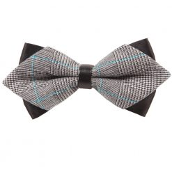 Grey Plaid Diamond Tip Bow Tie