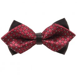 Burgundy Covert Checks Diamond Tip Bow Tie