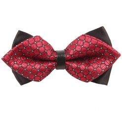 Red Covert Checks Diamond Tip Bow Tie