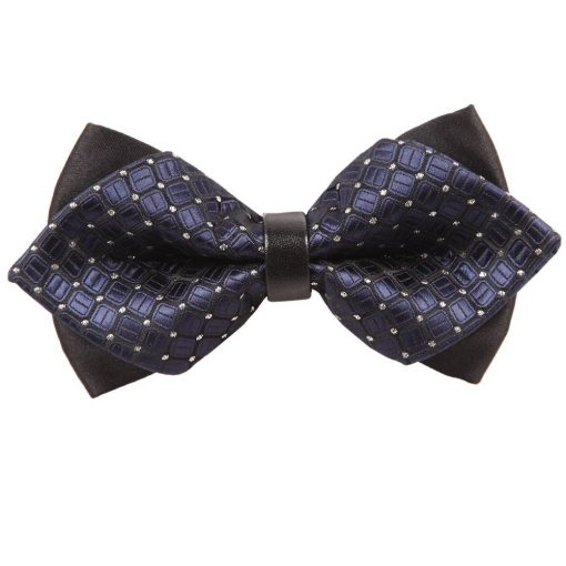 Navy Blue Covert Checks Diamond Tip Bow Tie