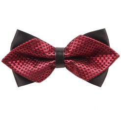 Red & Black Checkered Diamond Tip Bow Tie