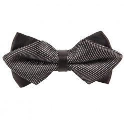 Black & Silver Stripes Diamond Tip Bow Tie