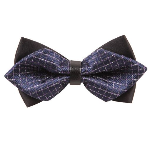 Navy Blue & White Large Grid Diamond Tip Bow Tie