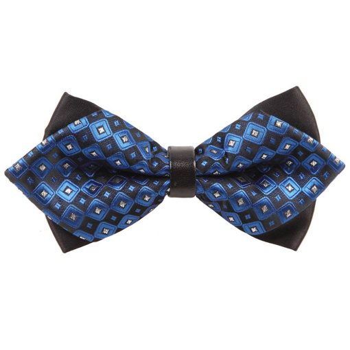 Blue Chess Board with Tiny Squares Diamond Tip Bow Tie