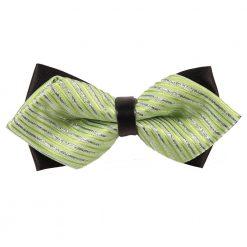 Mint Green & Silver Thin Stripes Diamond Tip Bow Tie