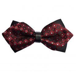 Plum Chess Board with Tiny Squares Diamond Tip Bow Tie