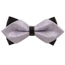 Silver Metallic Plain Diamond Tip Bow Tie