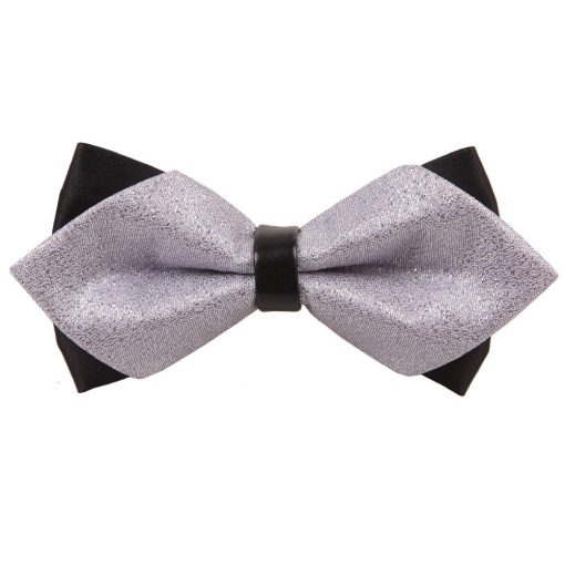 Silver Metallic Plain Diamond Tip Bow Tie
