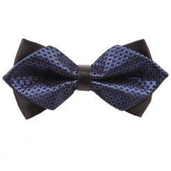 Navy Blue & Black Checkered Diamond Tip Bow Tie