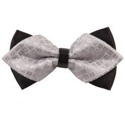 Silver Covert Checks Diamond Tip Bow Tie
