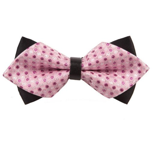 Pink Dragee Dots Diamond Tip Bow Tie