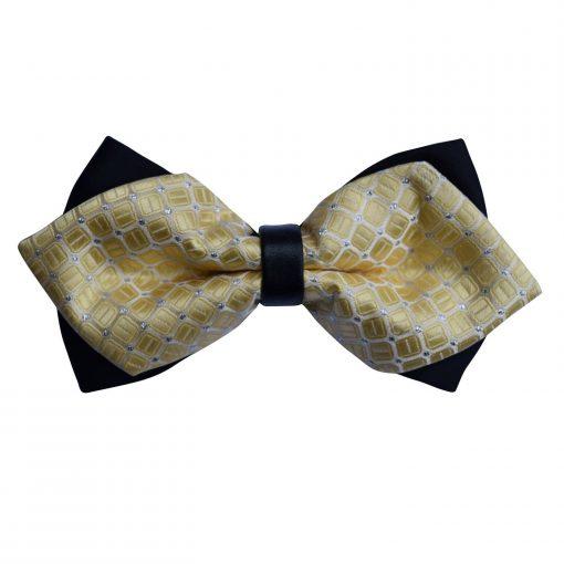 Pale Yellow Covert Checks Diamond Tip Bow Tie