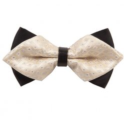 Ivory Crisscrossed with Dots Diamond Tip Bow Tie