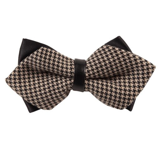 Champagne & Black Whitewash Houndstooth Diamond Tip Bow Tie