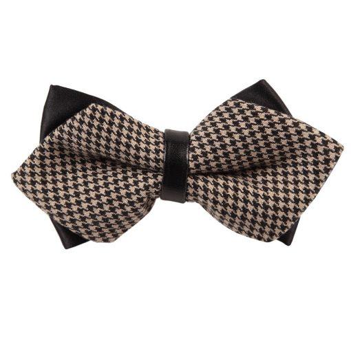 Champagne & Black Whitewash Houndstooth Diamond Tip Bow Tie