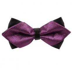 Purple Metallic Plain Diamond Tip Bow Tie