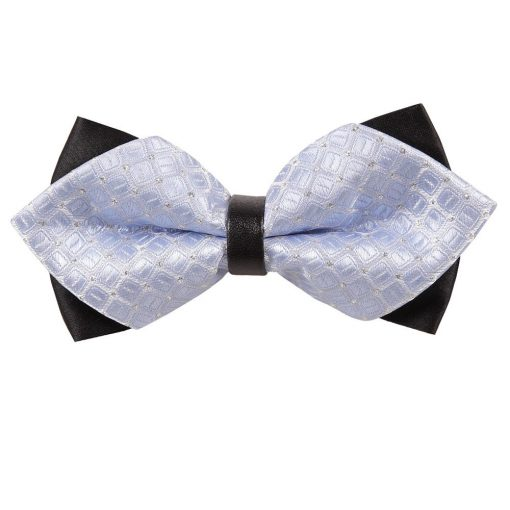 Baby Blue Covert Checks Diamond Tip Bow Tie