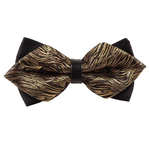 Gold Tiger Stripes Diamond Tip Bow Tie
