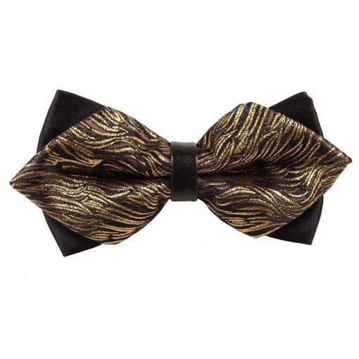 Gold Tiger Stripes Diamond Tip Bow Tie