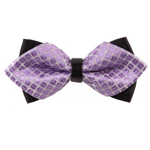 Lilac Covert Checks Diamond Tip Bow Tie