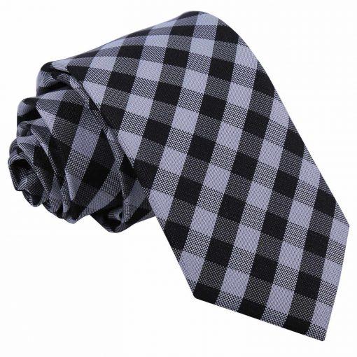 Black Gingham Check Slim Tie