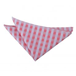 Coral Gingham Check  Pocket Square
