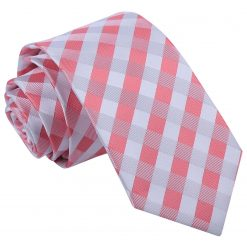 Coral Gingham Check Slim Tie