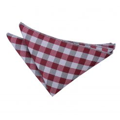 Dark Red Gingham Check  Pocket Square