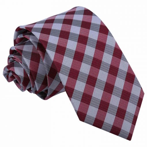 Dark Red Gingham Check Slim Tie