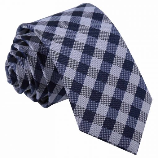 Navy Blue Gingham Check Slim Tie