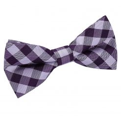 Purple Gingham Check Bow Tie