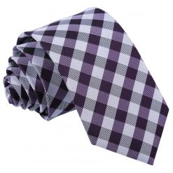 Purple Gingham Check Slim Tie
