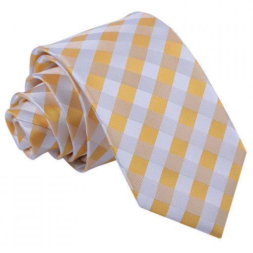 Sunflower Gold Gingham Check Slim Tie