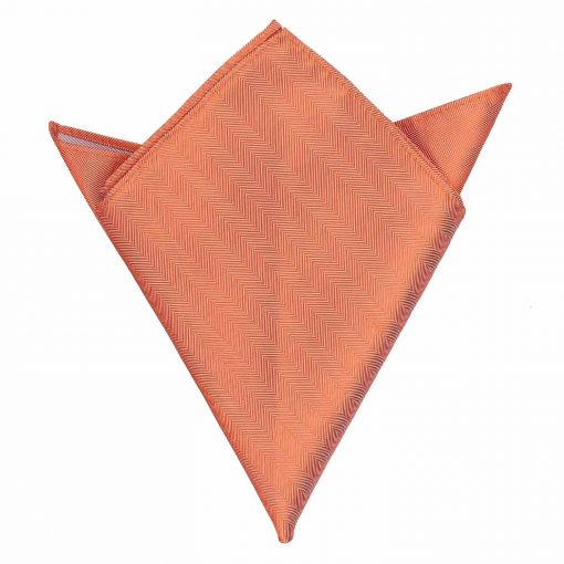 Coral Herringbone Silk Handkerchief / Pocket Square
