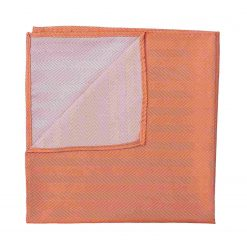Coral Herringbone Silk Handkerchief / Pocket Square