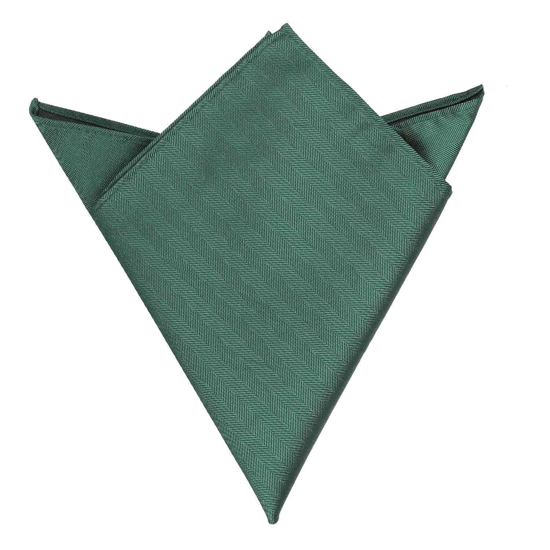 3cdda29fd1958 Dark Green Herringbone Silk Handkerchief / Pocket Square