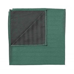 Dark Green Herringbone Silk Handkerchief / Pocket Square