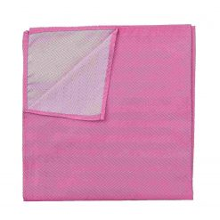 Fuchsia Pink Herringbone Silk Pocket Square
