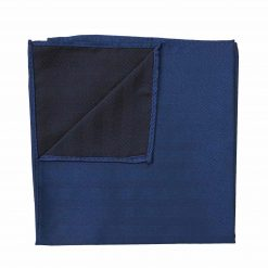 Midnight Blue Herringbone Silk Handkerchief / Pocket Square