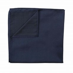 Navy Blue Herringbone Silk Pocket Square