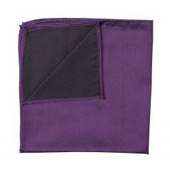 Purple Herringbone Silk Pocket Square