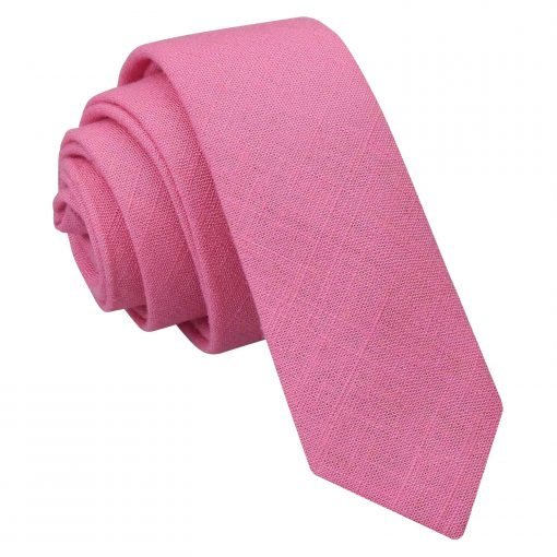 Carnation Pink Hopsack Linen Skinny Tie