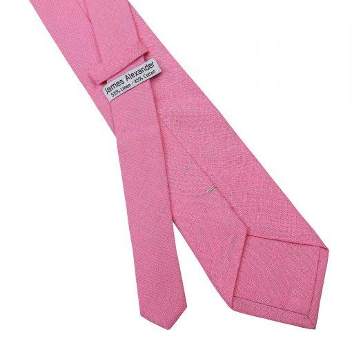 Carnation Pink Hopsack Linen Classic Tie
