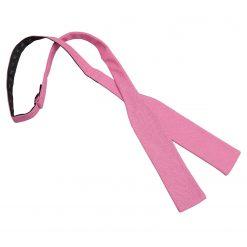Carnation Pink Hopsack Linen Batwing Self Tie Bow Tie