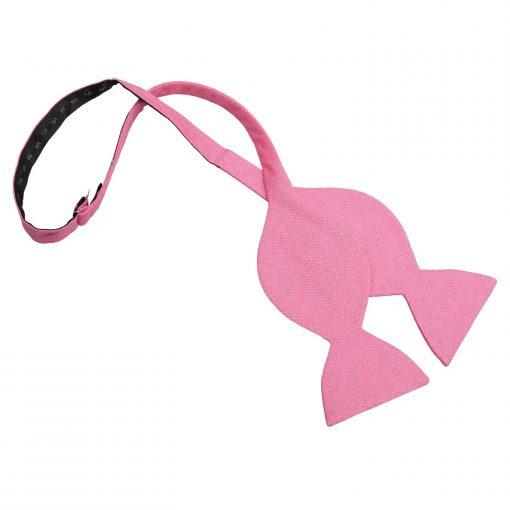 Carnation Pink Hopsack Linen Butterfly Self Tie Bow Tie