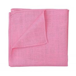 Carnation Pink Hopsack Linen Handkerchief / Pocket Square