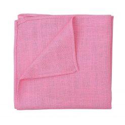 Carnation Pink Hopsack Linen Pocket Square