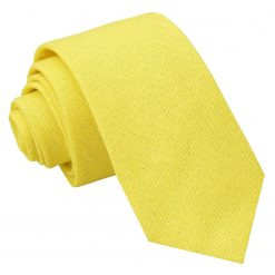 Daffodil Yellow Hopsack Linen Slim Tie