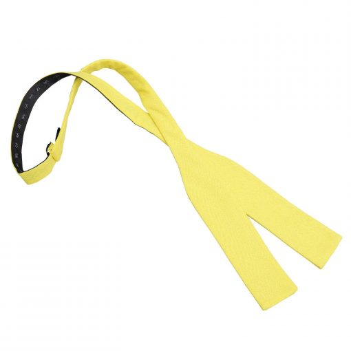 Daffodil Yellow Hopsack Linen Batwing Self Tie Bow Tie